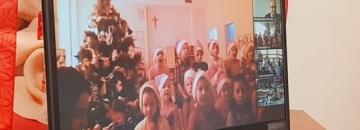 """zdjęcie z połączenia online podczas  akcji """"Wspólnie udekorujmy Augustów na Święta"""""""
