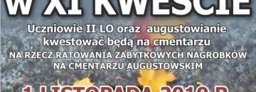 Weź udział w XI kweście na rzecz ratowania zabytkowych nagrobków na cmentarzu w Augustowie
