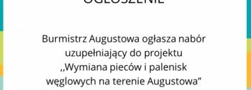 """,,Wymiana pieców i palenisk węglowych na terenie Augustowa"""""""