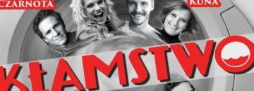Plakt spektaklu Kłamstwo  na szarym tle czerwona nazwa spektaklu Kłamstwo i zdjęcia aktorów występujących w spektaklu