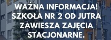 Zajęcia stacjonarne od jutra będą zawieszone. Taki stan potrwa przynajmniej do 20 listopada. Taką decyzję, po konsultacji z Sanepidem i Burmistrzem, podjęła Pani Dyrektor.