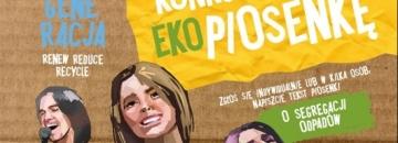 Na kartonowym tle śpiewające dzieci. Re!Generacja konkurs na Eko piosenkę. Zgłoś się indywidualnie lub w kilka osób, napiszcie tekst piosenki o segregacji odpadów.